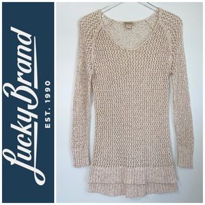🌹Lucky Brand V-Neck Open Knit Sweater Medium